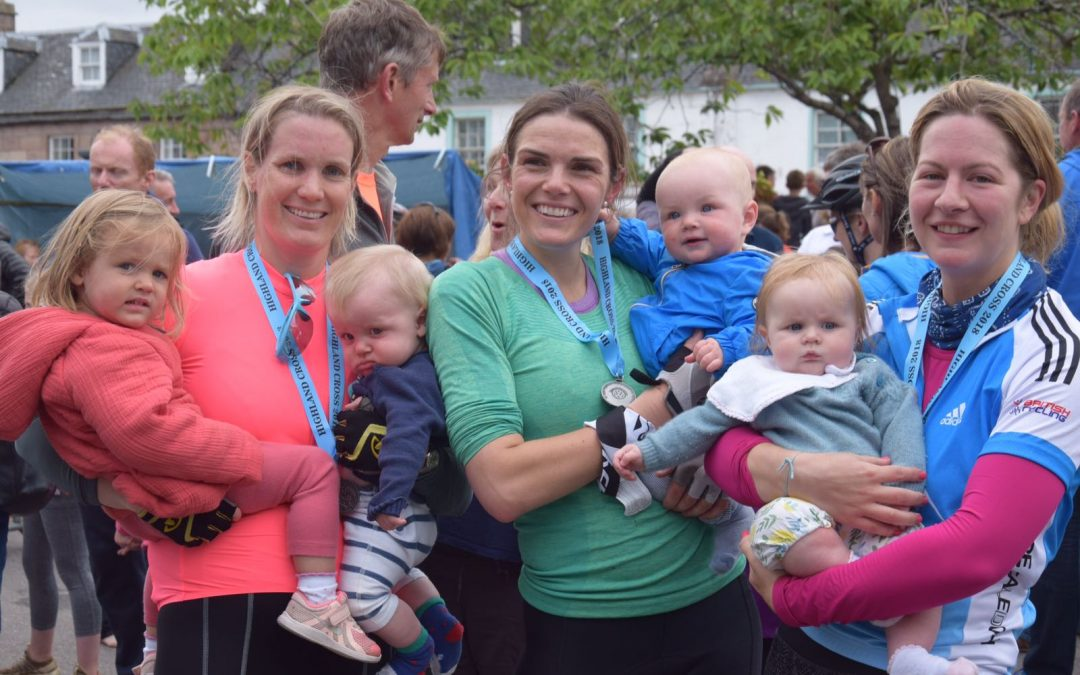 Gemma heather nicola complete the highland cross reunited with their babies