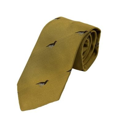Grouse Sitting Tie Gold