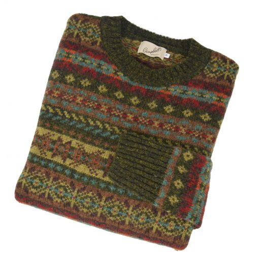 Mens Fairisle Crew Neck Pine Shadow