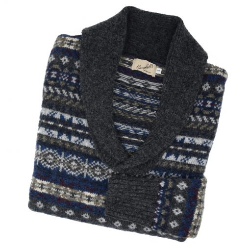 Fairisle shawl collar grey/blue