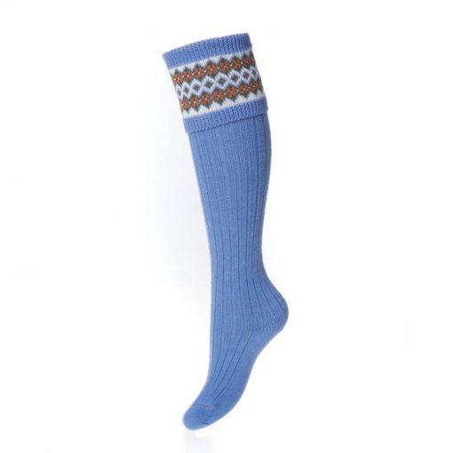 lady fairisle socks bluebell