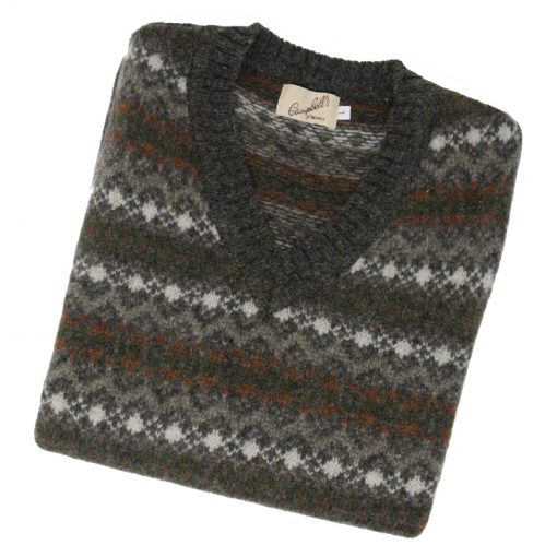 Mens fairisle slipover granite