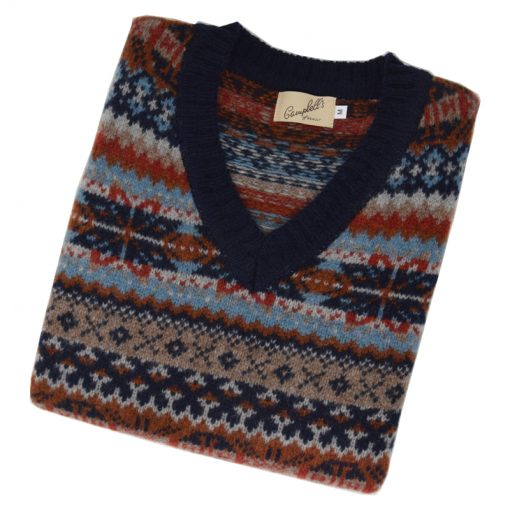 mens fairisle slipover navy