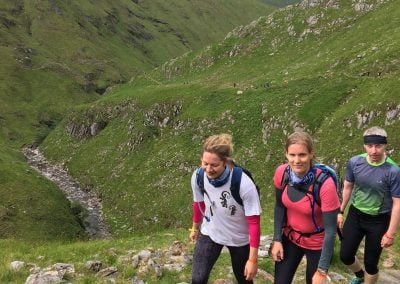 nicola and gemma climbing the hills from kintail to beauly