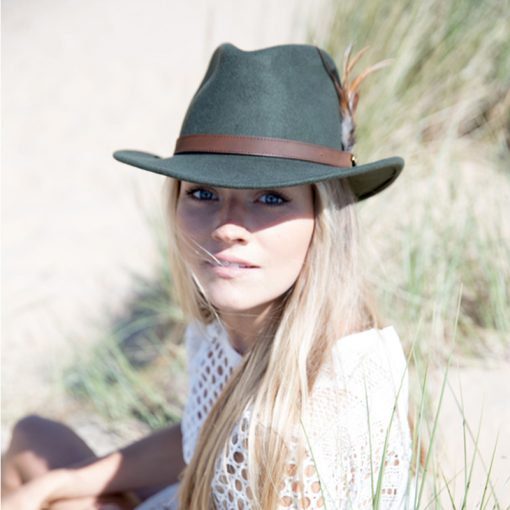 green hat on model