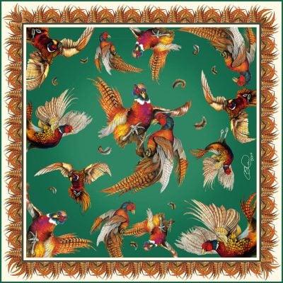 Silk scarf green turf war