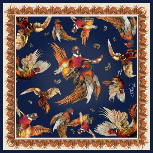 Silk scarf navy turf war