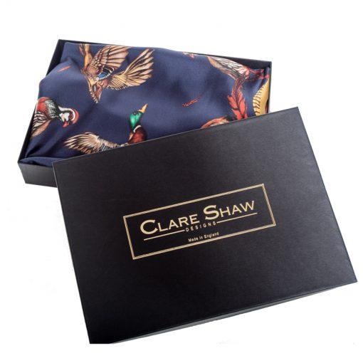 Silk scarf navy turf war packaging