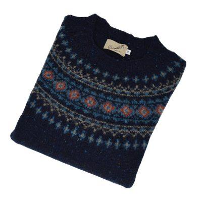 fairisle donegal jumper blue