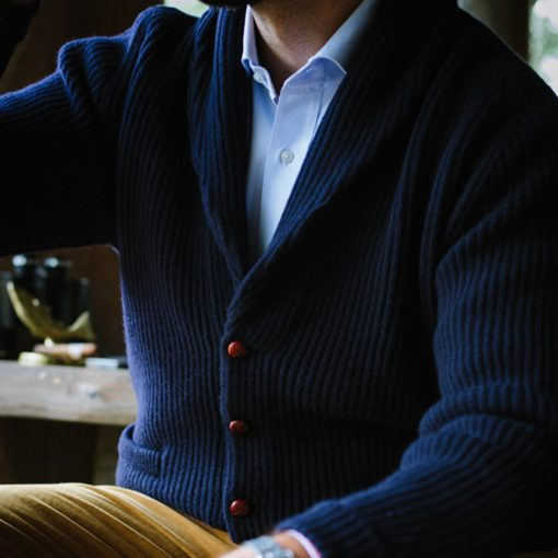 model wearing navy cardigan