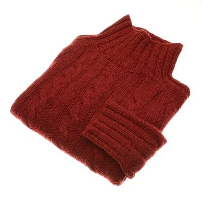 cable poloneck russet red