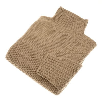 chunky moss stitch poloneck dark natural