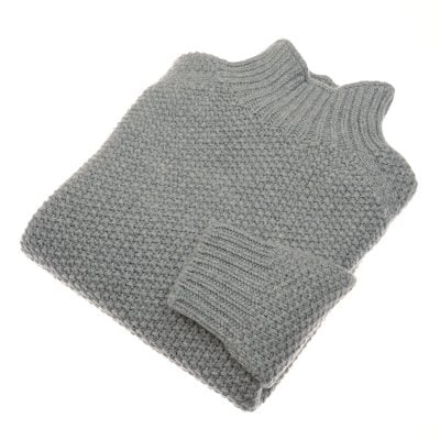 chunky moss stitch poloneck grey flannel
