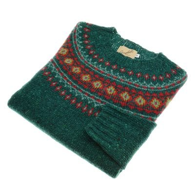 donegal fairisle crew neck jumper jade