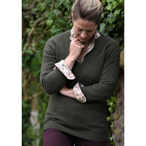 green wool v neck jumper