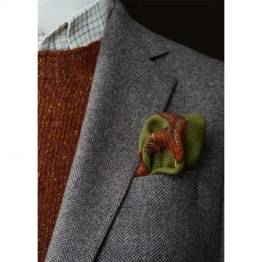 wool silk hank on model in olive pheasant