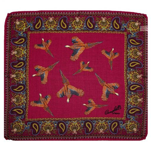 wool silk square hank pheasant purple