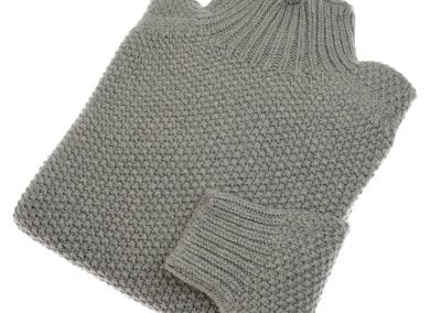chunky moss stitch polo neck moss