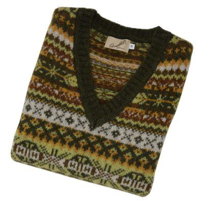shetland wool fairisle v neck loden