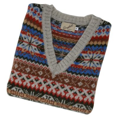 shetland wool fairisle v neck slipover putty
