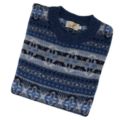 fairisle crew jumper denim
