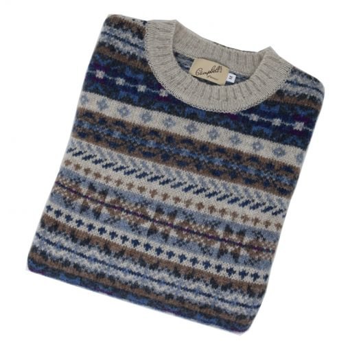 fairisle crew jumper putty