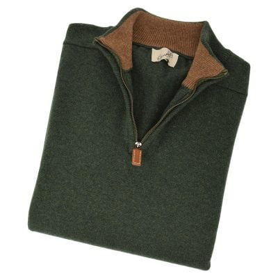 lambswool zip neck jumper rosemary driftwood