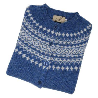 shetland wool fairisle cardigan blueprint and white
