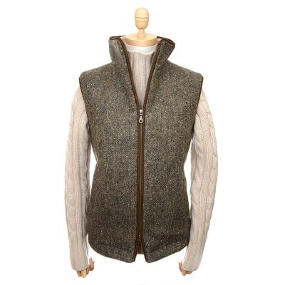 zip gilet padded donegal brown with zip