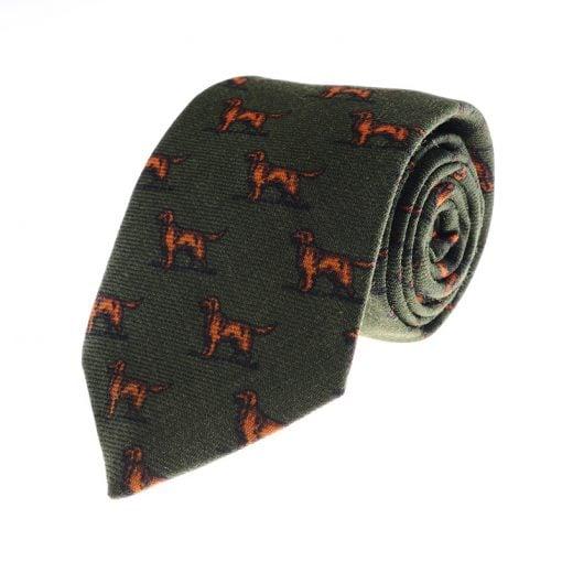 setter-dog-tie-w44429-green