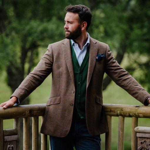 model wearing tweed jacket
