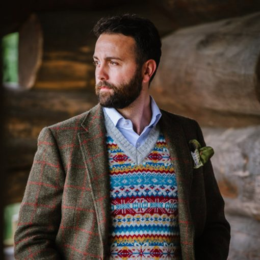 model wearing fairisle slipover