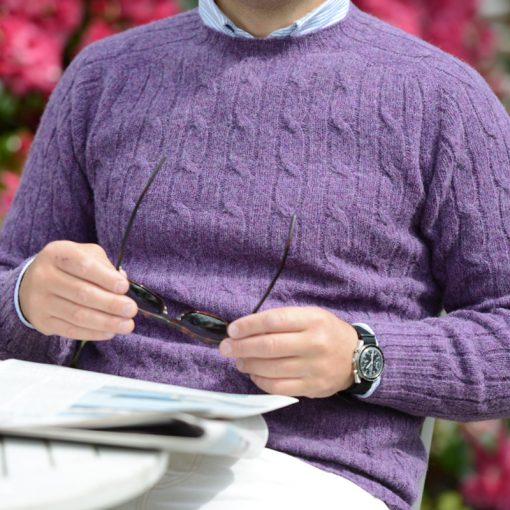 shetland cable knit jumper purple