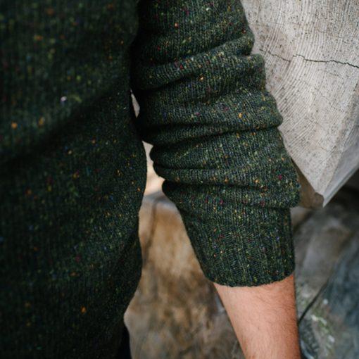 green donegal jumper