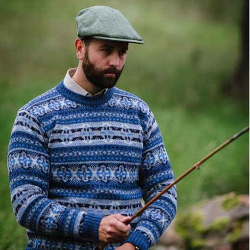 model wearing fairisle jumper