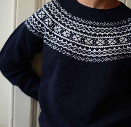 ladies fairisle jumper colour navy