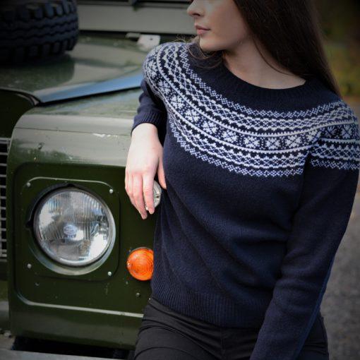 model wearing navy fairisle jumper