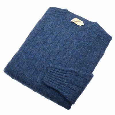 mens cable knit jumper colour denim