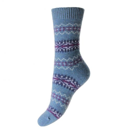 ladies fairisle socks colour blue