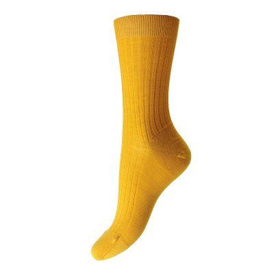 ladies yellow merino wool socks