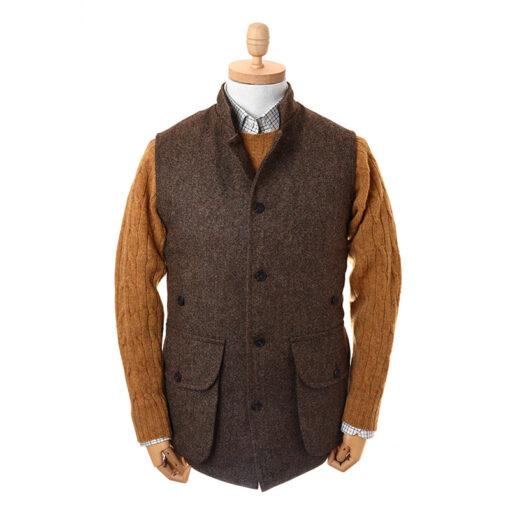 nehru gilet in brown tweed