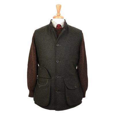 green tweed gilet