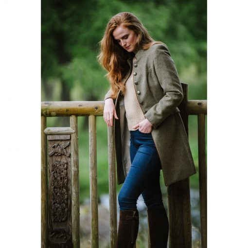 model in tweed jacket