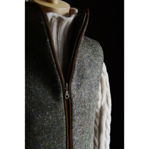 quileted donegal brown zip gilet