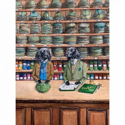 cocker spaniels dressed as shop keepers card