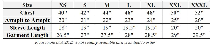 lambswool v and crew size chart