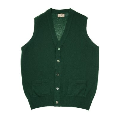 green sleeveless cardigan