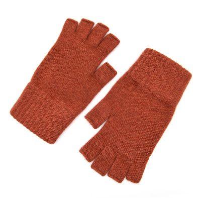 rust coloured cashmere fingerless gloves