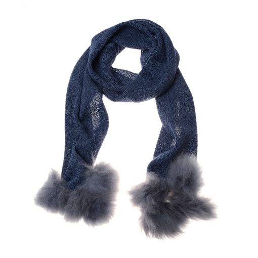 blue coloured alpaca scarf