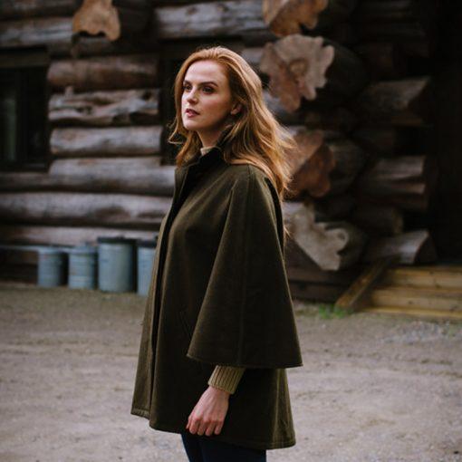 model wearing cape